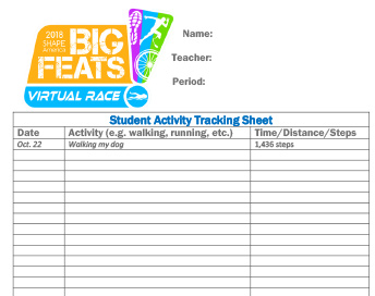 virtual race student tracking sheet