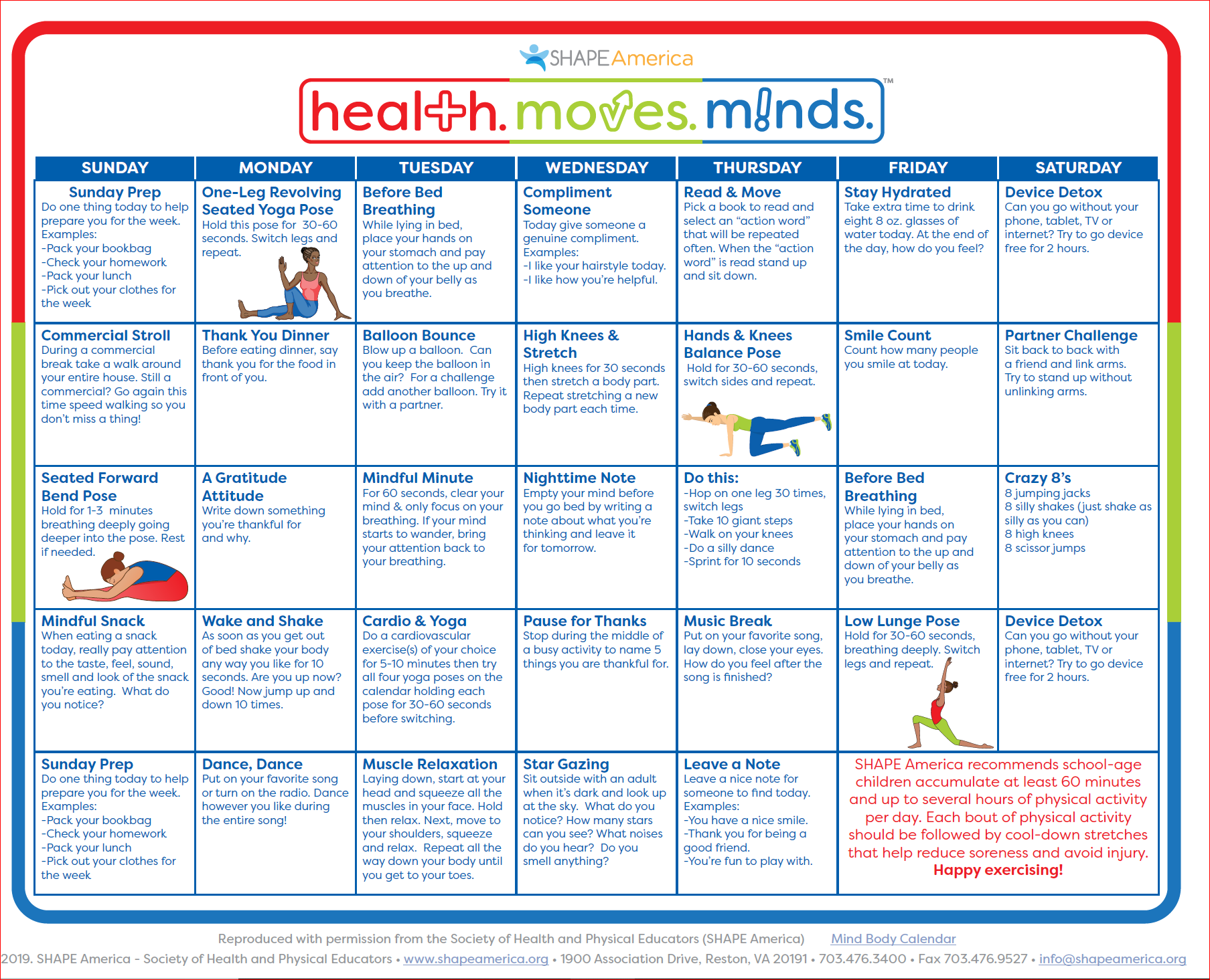 Mindfulness Calendar from health. moves. minds.