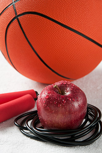 basketball apple and jump rope